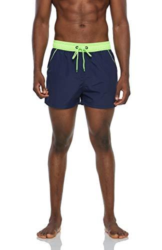 Arcweg Bañadores Hombres de Natación Pantalones Cortos de Playa Hombres Deportes Secado Rápido Ajustable Cómodo Actividad Acuáticos Azul Oscuro y Verde Fluorescente L