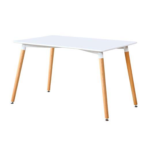 Adec - Nordika, Mesa de Comedor, Salon o Cocina, Mesa Extensible, Color Blanco y Haya, Medidas: 140 cm (Largo) x 80 cm (Ancho) x 75 cm (Alto)