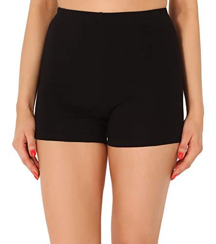 Merry Style Damen Shorts Radlerhose Unterhose Hotpants Kurze Hose Boxershorts aus Baumwolle MS10-358(Schwarz,L)