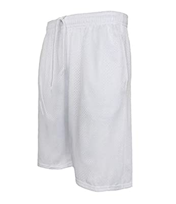 StyLeUp Men's Active Athletic Mesh Basketball Gym Shorts (MESH WH L) White from
