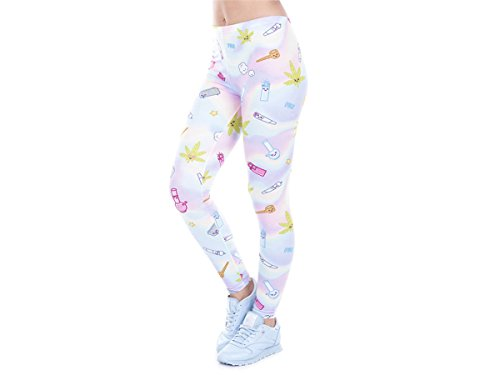 Alsino Damen Gym Leggings mit All-Over-Print Motiven - Größe: One Size - Stretch fähig, Marihuana (LEG-112)