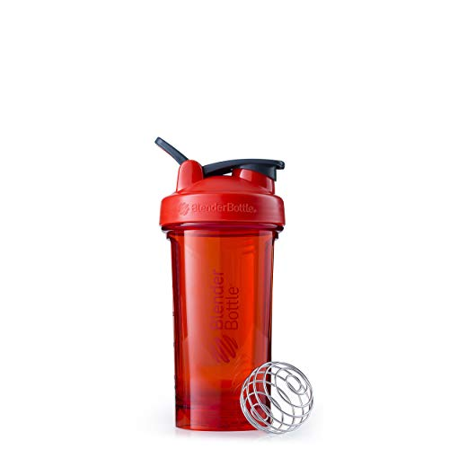 BlenderBottle Shaker Bottle Pro Series Perfect for Protein Shakes and Pre Workout, 24-Ounce, Red