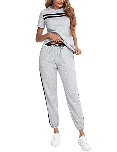 Sykooria Conjunto Chandal Mujer Completo Verano Traje Deportivo Algodón Holgado Chándal Mujer Dos Piezas de Manga Corta y Pantalones