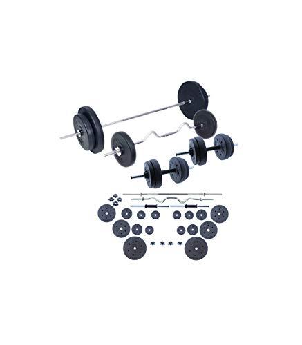 Wonduu Juego De Pesas 60 Kg con Barras Y Mancuernas Set De Musculación Discos de 1.25 Kg: 18 cm.