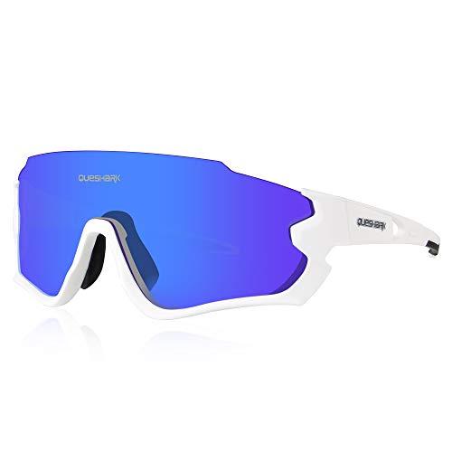 Queshark Polarizzati Occhiali Ciclismo con 4 Lenti Intercambiabili Occhiali Bici Occhiali Sportivi da Sole Anti UV da Uomo Donna per Corsa,MTB QE44 (Bianco)