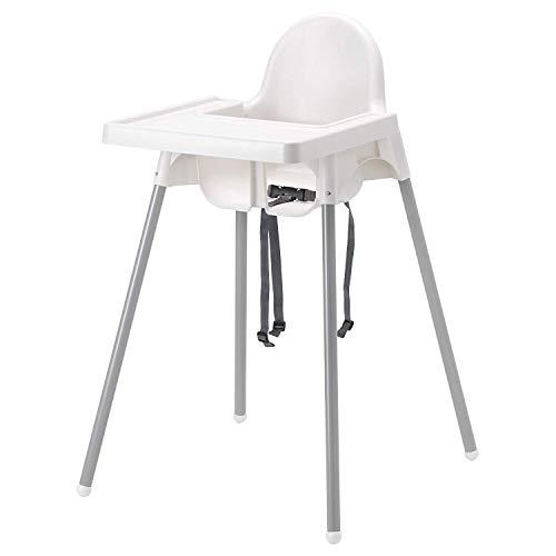 IKEA Antilop kinderstoel met dienblad, veiligheidsgordel, wit/zilver kleur 2.22kg