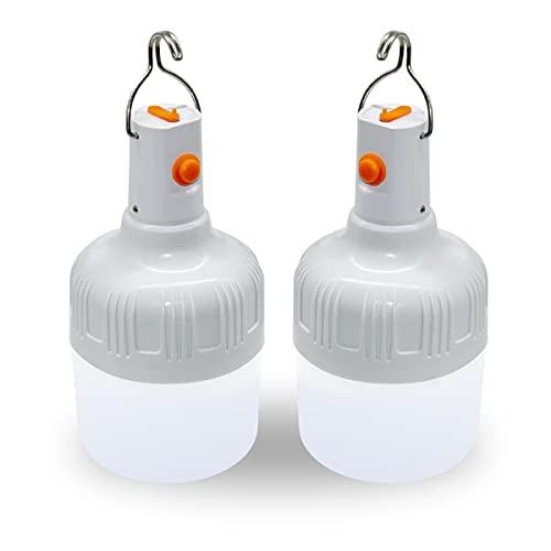 Ledeak 2 Stücke LED Campinglampe Wiederaufladbare, Zeltleuchte Arbeitslampe mit Aufhängung und USB Kabel Batteriebetriebene Aufladbar Tragbare 500 Lumen Zelt Licht für Camping Terrasse Garten Grillen
