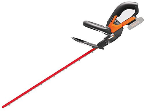 WORX WG260E.9 Accu-heggenschaar, 20 V, elektrische heggenschaar met dubbele snijmessen voor gelijkmatige sneden, inclusief beschermkoker, heggenschaar zonder accu en laadstation