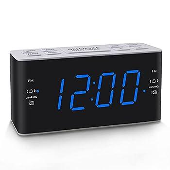 Ratakee Digital Alarm Clock Radio with AM FM Radio Dual Alarms Preset Adjustable Alarm Volume Sleep Timer and Dimmer 4.5  Blue LED Display for Bedroom Bedside