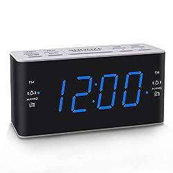 Ratakee Digital Alarm Clock Radio with AM FM Radio, Dual Alarms, Preset, Adjustable Alarm Volume, Sleep Timer and Dimmer, 4.5 Blue LED Display for Bedroom, Corded Electric Powered