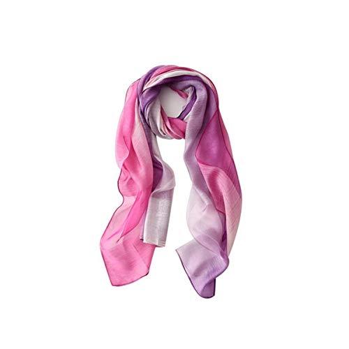GSZPXF Gradiente de la Bufanda de Seda Femenina, versátil y Transpirable Mezcla de Seda Larga Toalla de Playa, Chal, Lila púrpura de la Pendiente (Color : Purple)