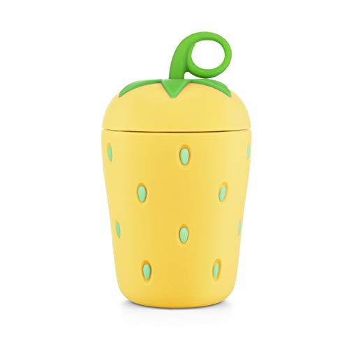 APIKA Linda Botella de Agua de Vidrio de Fresa Borosilicato de Pared Doble 300 ml Fácil de Llevar Adecuado para Regalos y Unisex para niño(Amarillo)