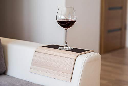 Bandeja de madera para sofá con reposabrazos, para sofá, mesa, posavasos, sofá, soporte para teléfono con tela 1.light