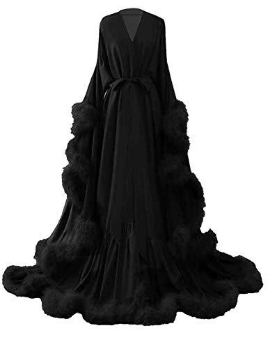 yinyyinhs Feather Bridal Robe Wedding Scarf Long Lingerie Robe Nightgown Bathrobe Sleepwear Black Size L/XL