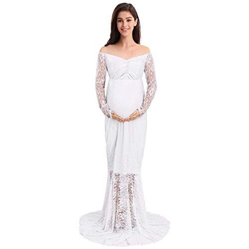 IWEMEK Frauen Schwangerschaftskleid, Elegantes Damen Umstandskleid Mutterschaft Fotografie Kleid Spitzenkleid Empire Kleid Spitzen V-Ausschnitt Lange Ärmel MaxiKleid Weiß