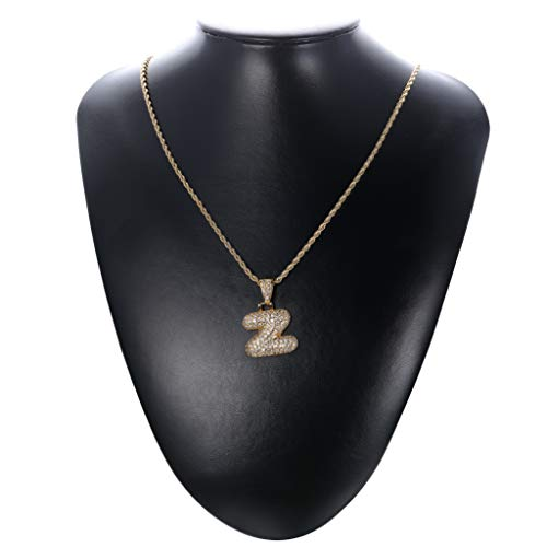 Fiasaso 14K Gold Plated Z Letter Necklace for Men Women CZ Bubble Initial Pendant Hip Hop Necklace Rope Chain 23