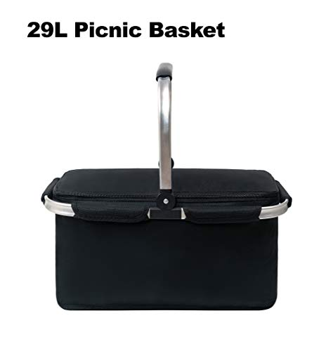 Picnic Pro-Premium Large Insulated Picnic Basket, 29L Leakproof Collapsible Portable Cooler Basket Set with Aluminium Handle for Travel, Shopping, Camping,Attach with a Free Foldable Grocery Bag,Black
