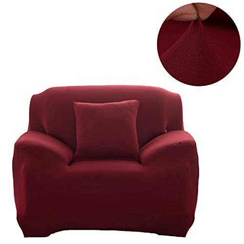 ANJUREN 1 Piece Sofa Couch Loveseat Chair Slipcover Cover Polyester Spandex Living Room Sofas Furniture Stretch Slip Covers Shield Protector (Chair, Wine red)