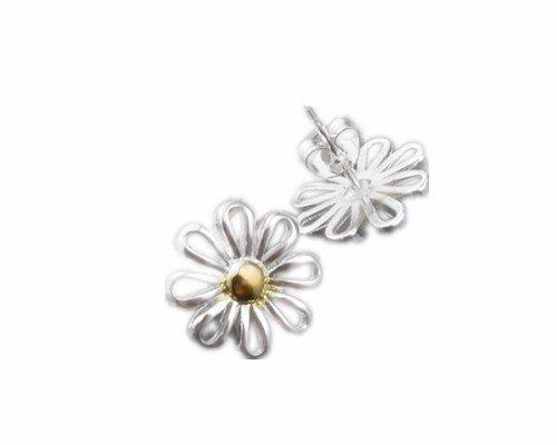 skyllc® Delicada Chrysanthemum en Forma de Pendientes Plateados Hermosos Pendientes de Plata para Las Mujeres y Las niñas