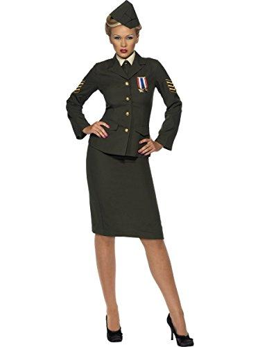 Smiffys, Damen Kriegszeit Offizier Kostüm, Rock, Jacke mit Orden, Hemdfront, Schlips und Mütze 35335, Grün, Small