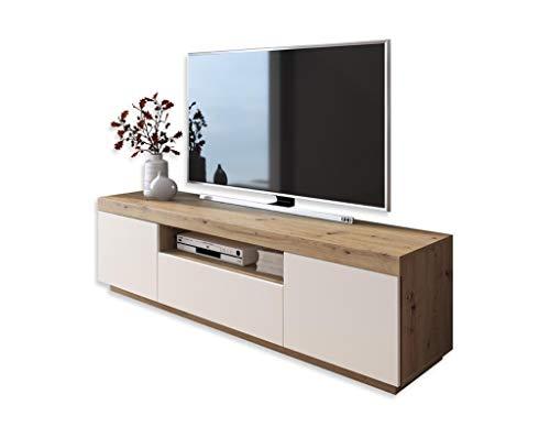 LUK Furniture Yoshi TV-Schrank Eiche Wotan weiße Fronten Fernsehschrank mit Schubladen und Push to Open System TV- Bank, Sideboard Lowboard Wohnwand