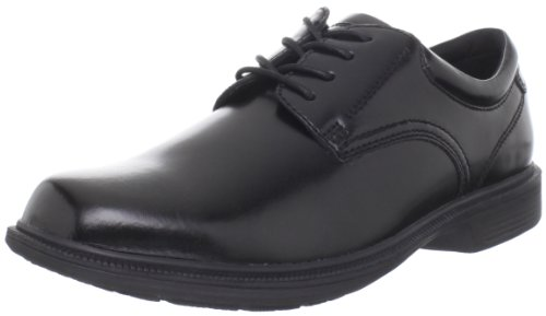 Nunn Bush Men's Baker Street Plain Toe Oxford Lace Up with KORE Slip Resistant Comfort Technology, Black, 8.5