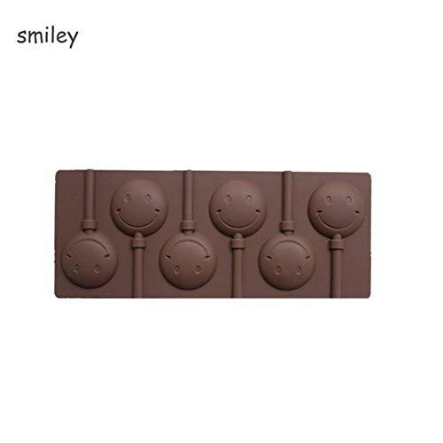 SELLM 1 Pcs Glace Cookie Biscuit Moule Pan Silicone Gateau Moules Pudding Gelée Bonbons Gateau Chocolat Savon Ustensiles de Cuisson Ronde Sucette Moule, Smiley