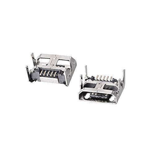 YeVhear 10 piezas Micro USB conector hembra Jack Port, 5 pines DIP 180 grados Adaptador de Reparación