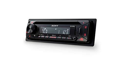 Sony CDX-G1300U - Reproductor CD para Coche (Extra Bass, USB, amplificación de 55W x 4 Salidas, Ecualizador de 10 Bandas, Luces Rojas), Negro