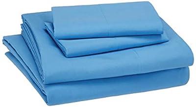 AmazonBasics Kid's Sheet Set - Soft, Easy-Wash Lightweight Microfiber - Queen, Azure Blue