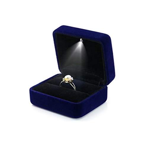 Preisvergleich Produktbild Suszian Ring Box,  Velvet Jewelry Box mit LED Light Glowing Ring Box für Ausstellung Engagement für Vorschlag Engagement Hochzeit