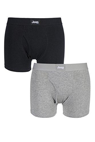 Jeep Herren Zweierpack einfarbige taillierte Boxer Shorts mit Schlitz - Black/Grey Marl - XL