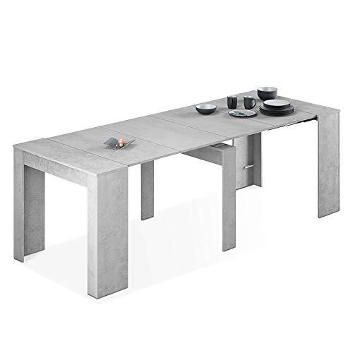 Habitdesign Mesa de Comedor, Consola, Mesa Extensible, Mesa para Salon recibidor o Cocina, Acabado en Gris Cemento, Medidas: 50-235 cm (Largo) x 90 cm (Ancho) x 78 cm (Alto)