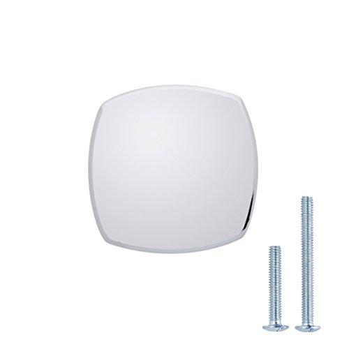 AmazonBasics - Pomo de armario redondo y cuadrado, 3,2 cm de diámetro, Cromo pulido, Paquete de 10