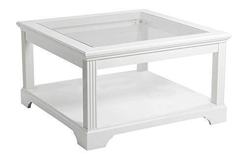 Dynamic24 Couchtisch Charlot Glas Holz Wohnzimmer Tisch Beistelltisch weiß teilmassiv