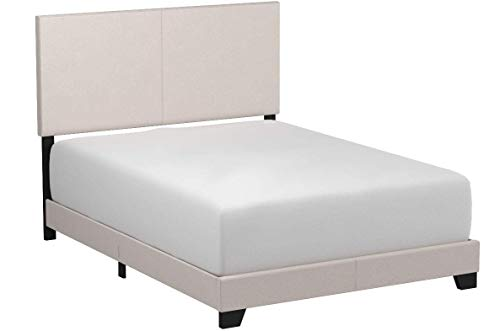 Crown Mark Erin Upholstered Panel Bed in Stone Khaki, Queen