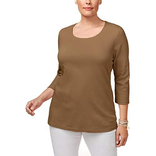 Karen Scott Plus Size Cotton Scoop-Neck Top (Chestnut, 3X)