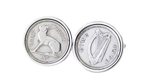 Cadeau d'anniversaire 1963 - Irlandais véritable monnaie Boutons de manchette Boutons de manchette Threepence Irlande 1963