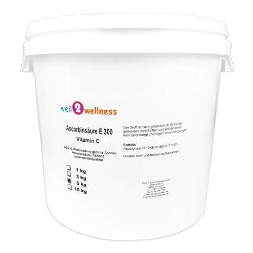 well2wellness® Ascorbinsäure Vitamin C in Lebensmittelqualität E300, 5kg