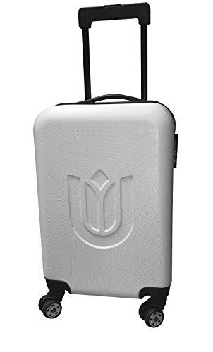 Trolley met dubbele rollen, koffer, reiskoffer, harde schaal, boardcase, handbagage, korte reis, wit