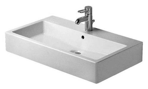 Duravit Waschtisch Vero 800mm, mit Überlauf, mit Hahnlochbank, 1 Hahnloch, Farbe: Weiß mit Wondergliss - 04548000001
