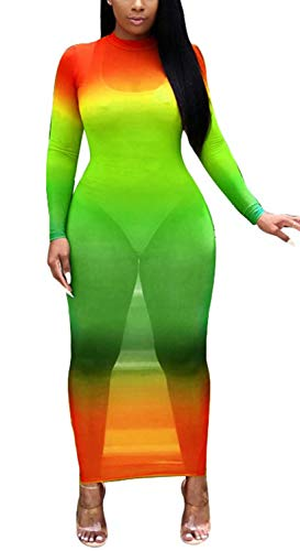 Sprifloral Women Sexy See Through Dress Long Sleeve Turtleneck Colorful Tie Dye Print Sheer Mesh Cover up Bodycon Long Dress Small