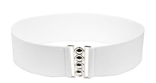 Modeway Women 3'Fashion Wide Belt Elastic Stretch Waist Belt,Metal Buckle Waistband (XL-XXL,white)A3-3