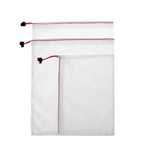 Cooer 3 bolsas de malla de poliéster reutilizables para el hogar y la vida, para guardar juguetes vegetales, bolsa de compras, frutas (3 unidades), color rojo
