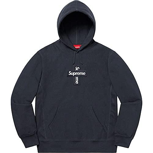 Supreme パーカー クロス ボックス ロゴ 刺繍 定番 スウェットメンズ裏毛 長袖 おしゃれ レディーストレーナー Cross Box Logo Hooded Sweatshirt-ブルー/L