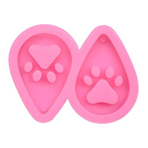 MISHITI DIY Hund Pfote Schlüsselanhänger Epoxidharz Form Schlüsselanhänger Ohrringe Anhänger Silikon Form