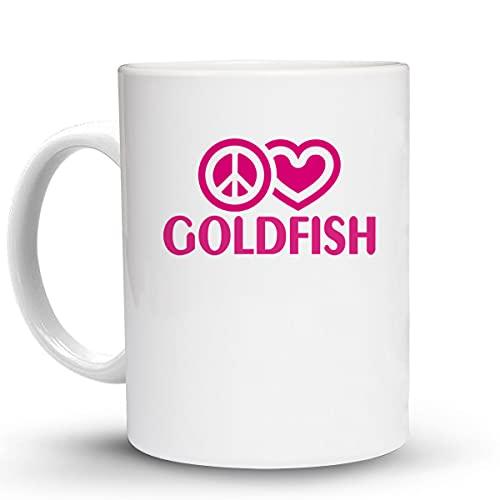 Press Fans - PEACE LOVE GOLDFISH 11 Oz Ceramic Coffee Mug, y55