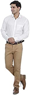 EL FIGO Men's Off White Color Printed Full Sleeve Poly Cotton Casual Shirt with Classic Collar, Sizes S - XXL