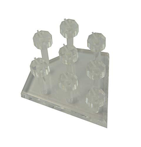 Soporte universal de acrílico para 8 anillos de podio de oro rosa con piedra natal (transparente, número de soportes, 2)
