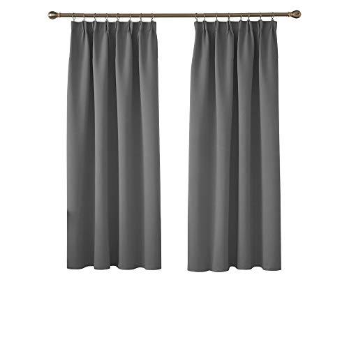 Deconovo Verdunkelungsvorhang mit Kräuselband für Kinderzimmer Blickdicht Vorhang 160x132 cm Hellgrau 2er Set